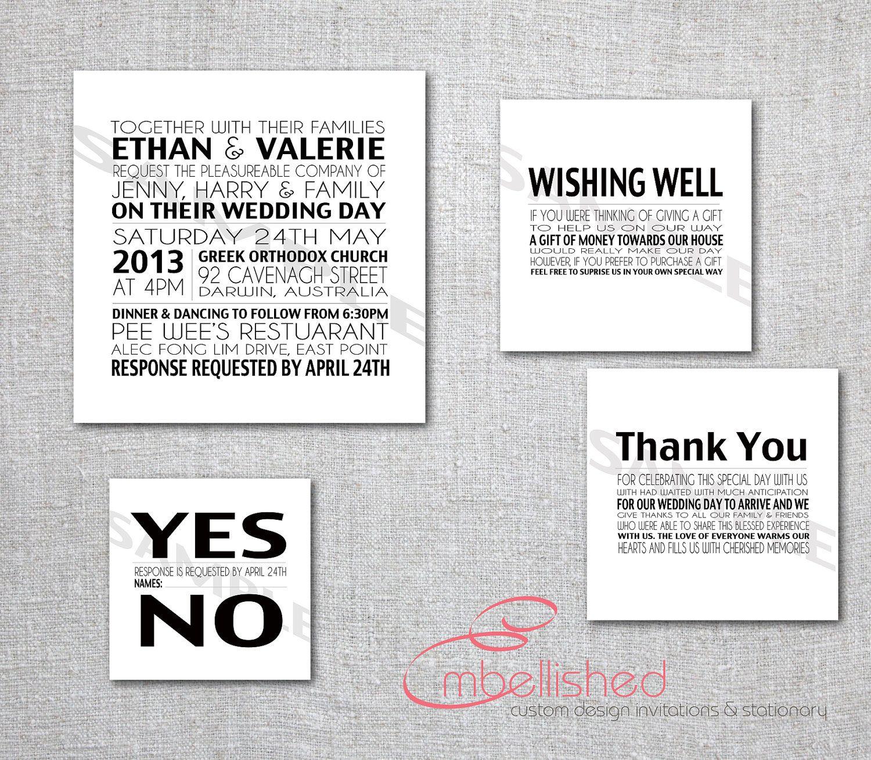 Modern Wedding Invitation Printable New York Black & White ...