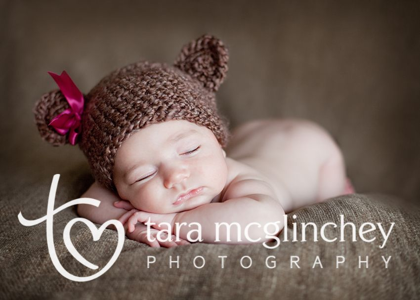 Newborn photograph w bear ears