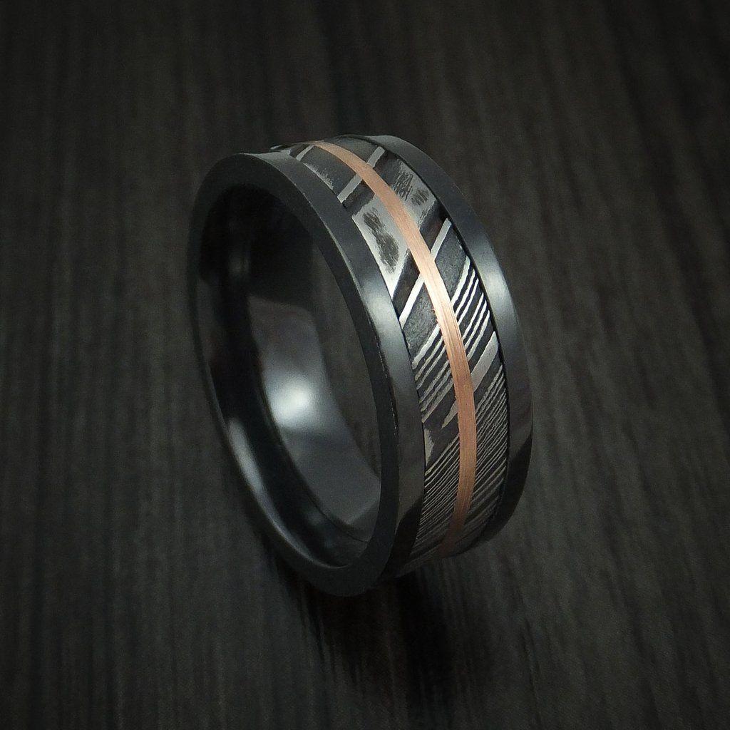 Black zirconium and kuro damascus steel band 14k rose gold