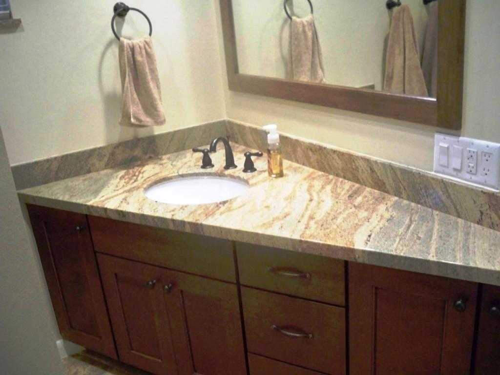 Elegant Home Corner Bathroom Brown Mahogany Vanity Cabinet Design With Different Size Doors Likewise Drawers Also Scalene Triang Badkamer Badkamerideeën Vanity