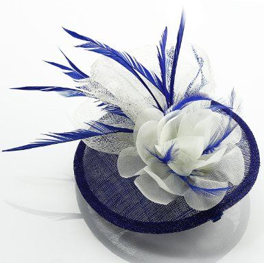 Amazon.com  Womens Blue and White Round Mesh Feather Fascinator - KCMODE   Clothing 28b51cb9b80