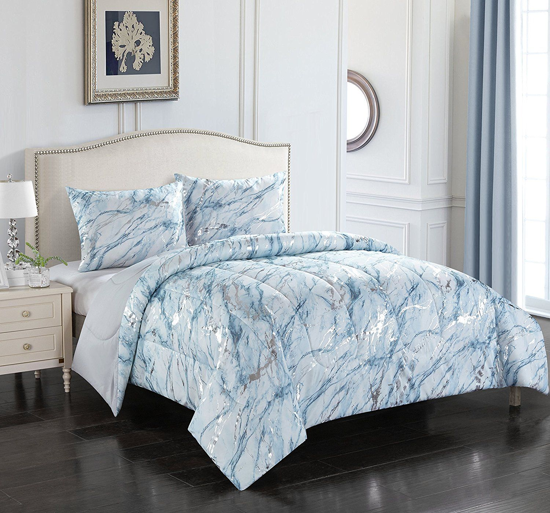 Amazon Com Pop Shop Marble Comforter Set Full Queen Rose Gold Home Kitchen Marble Comforter Comforter Sets Bedding Sets