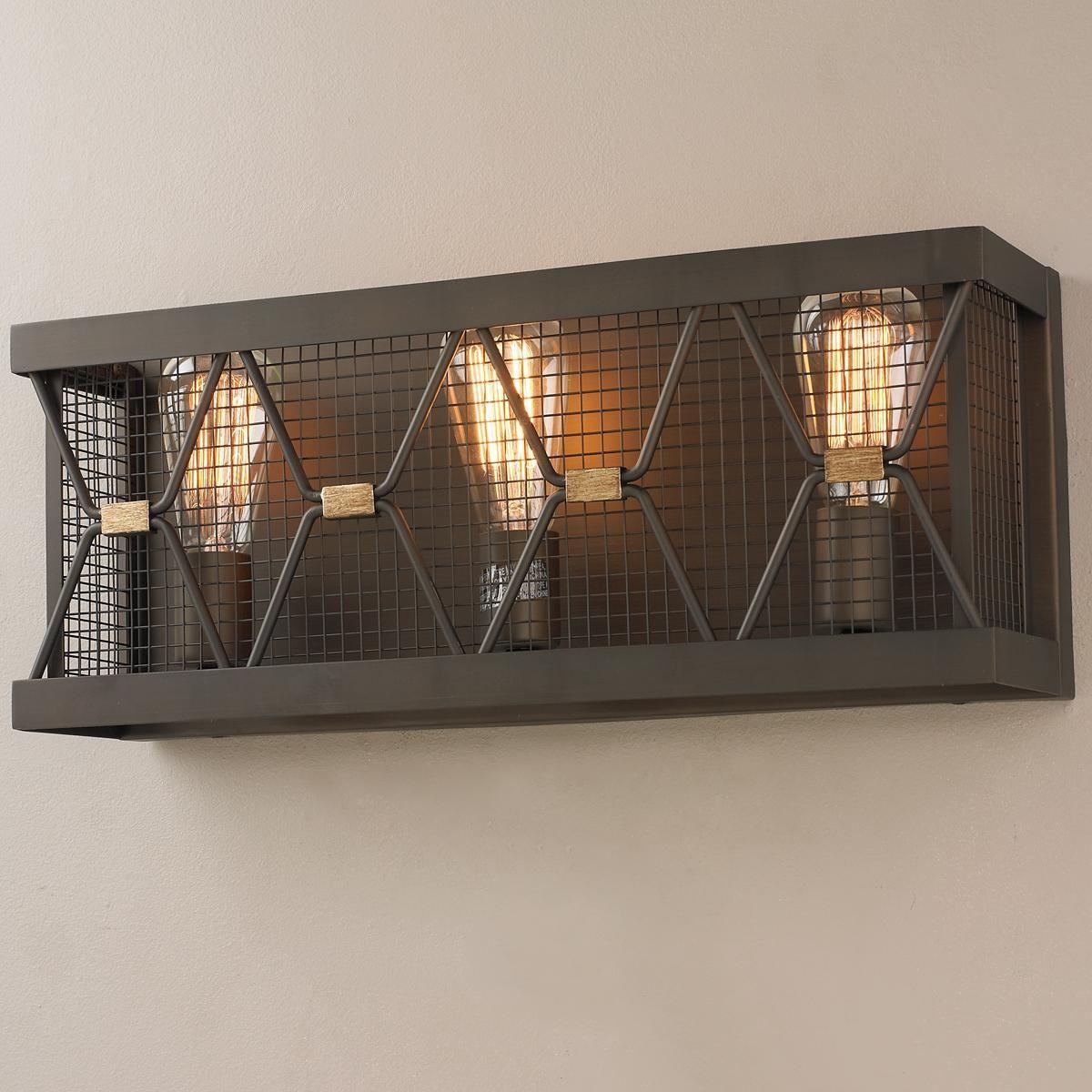 X-Cage Urban Vanity Light - 3 Light 20W X 8H FOR POWDER RM