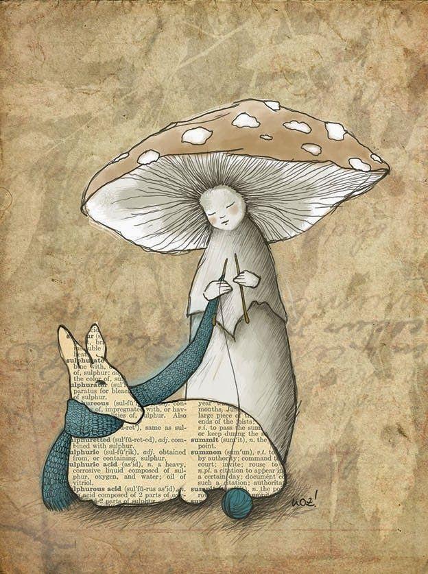 Glücksmomente - Wort.Bilder.Illustrationen: Fabelhafte Waldbewohner #mushroom #forester #illustration