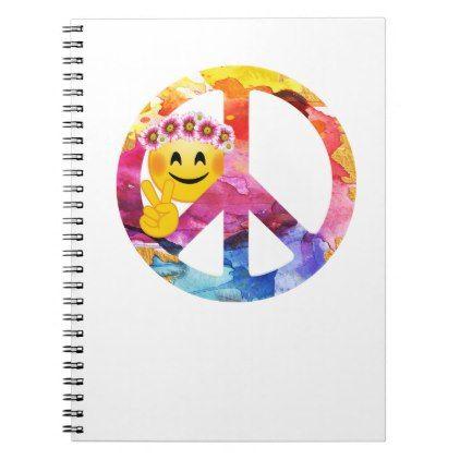 Peace Sign, Hippie Emoticon Watercolor Art Notebook ... | 422 x 422 jpeg 18kB