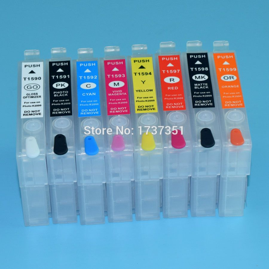 For Epson Stylus R2000 printer ink cartridge 8 color 15 ml for Epson T1590-T1599