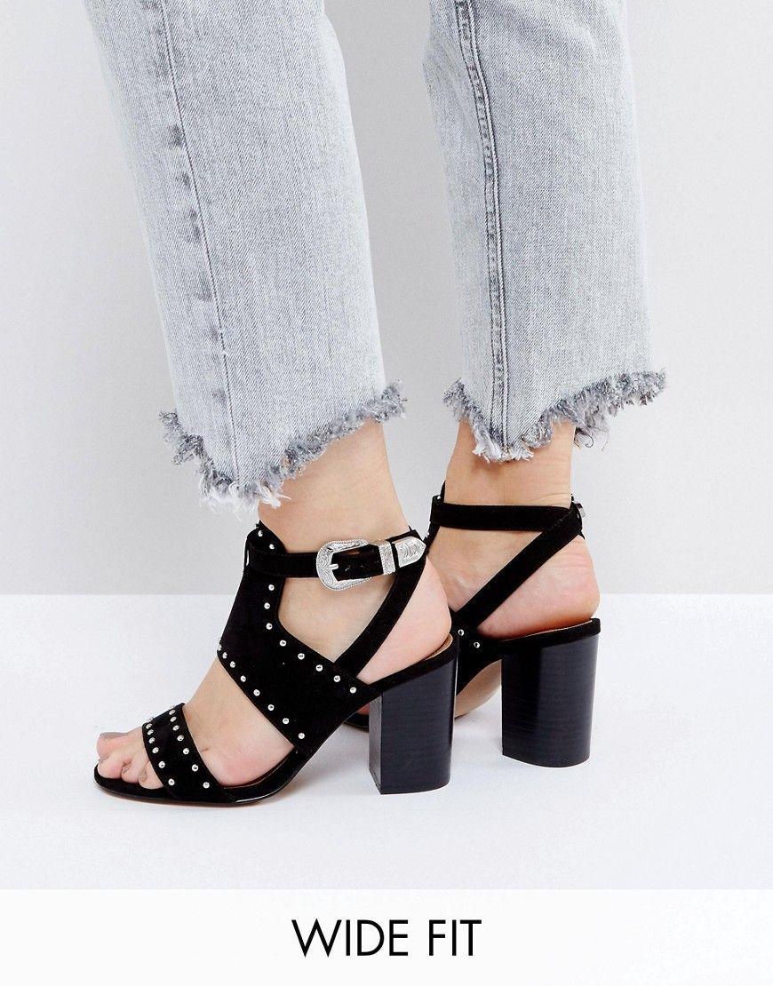 ASOS TAROT CARD Wide Fit Western Heeled Sandals Black