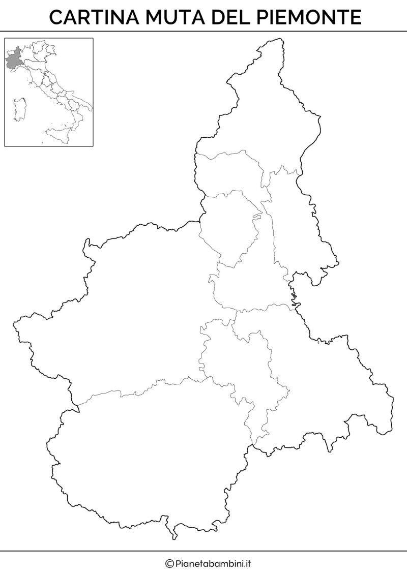 Cartina Muta Piemonte.Cartina Muta Fisica E Politica Del Piemonte Da Stampare