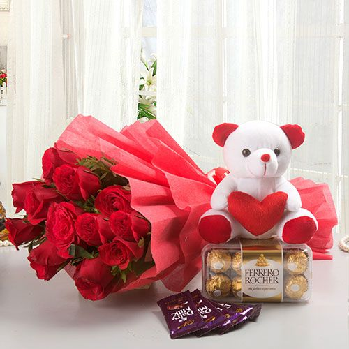49709fa974 SurpriseForU offers genuine quality fresh flowers with teddy bears. Buy and Send  flowers with teddy bears in Ahmedabad with express home delivery and Free  ...