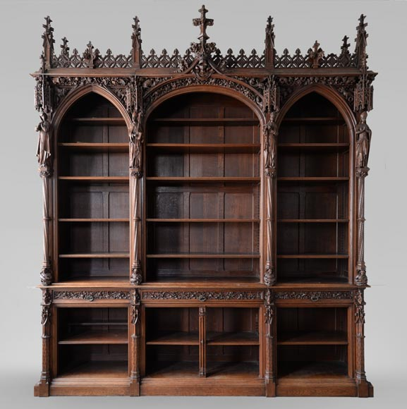 A Large Neo Gothic Oak Bookcase Collection Of Abbe Cochet