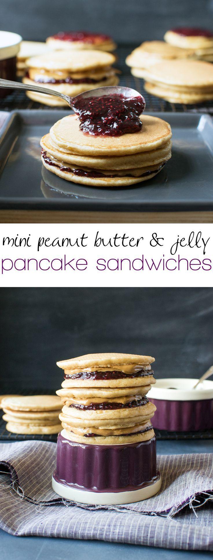 Mini peanut butter and jelly pancake sandwiches