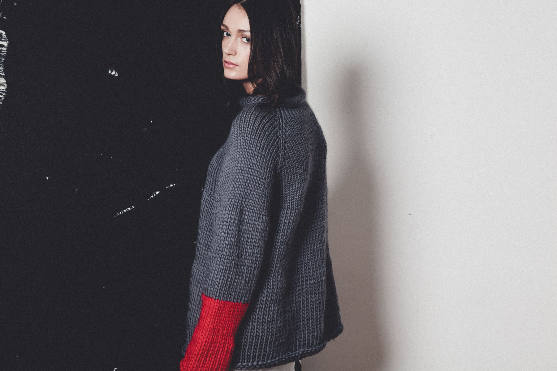 AW14 Lookbook for Confined Space Ethical fashion - Hand knitted & hand spun yarn, oversize colour pop jumper. Made in the UK, by The New Yarn Company.  Sustainable Style from independent designers