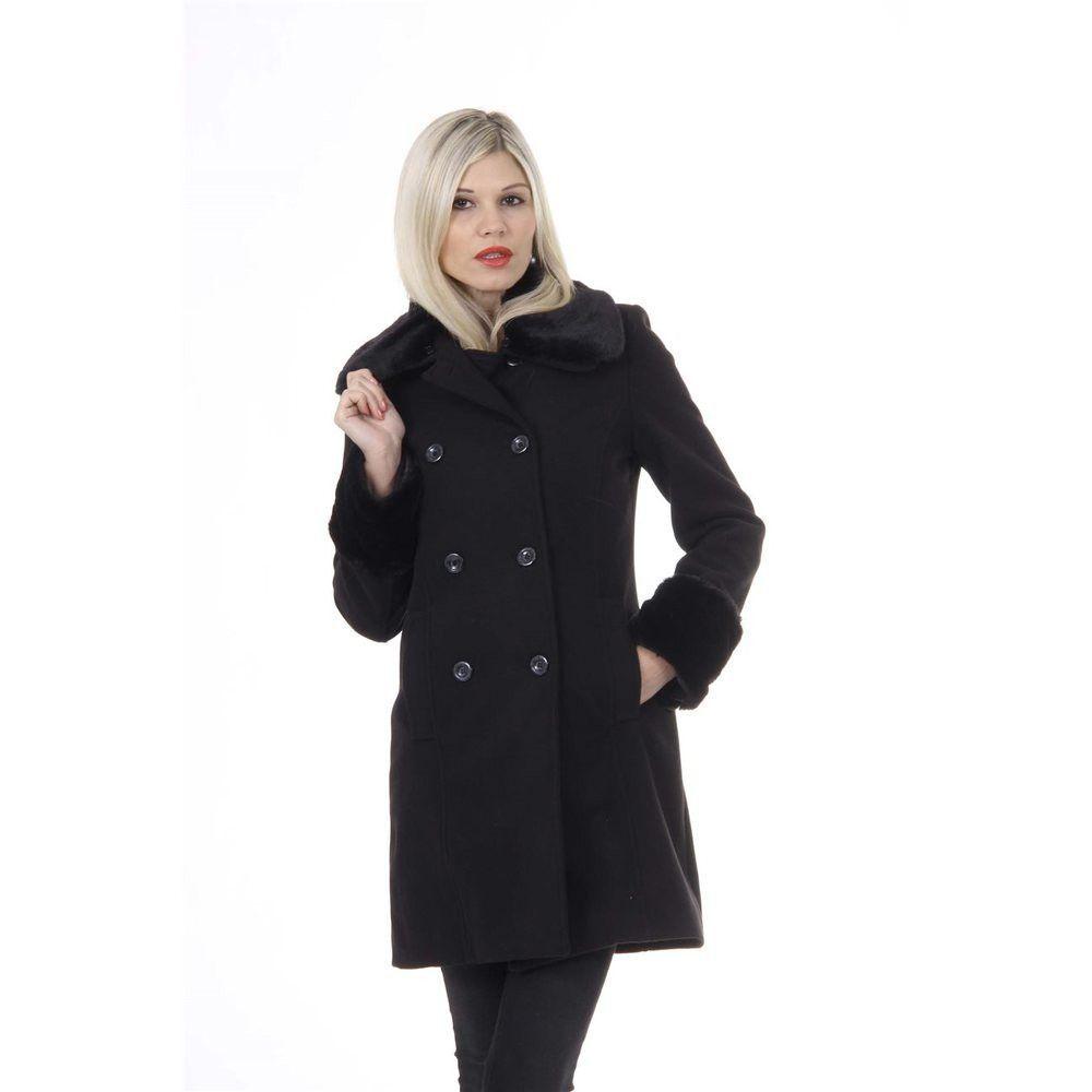 Black M Versace 19.69 Abbigliamento Sportivo Srl Milano Italia Womens Coat CAPPOTTO NARA TESS. VELOUR + PELLICCIA NERO