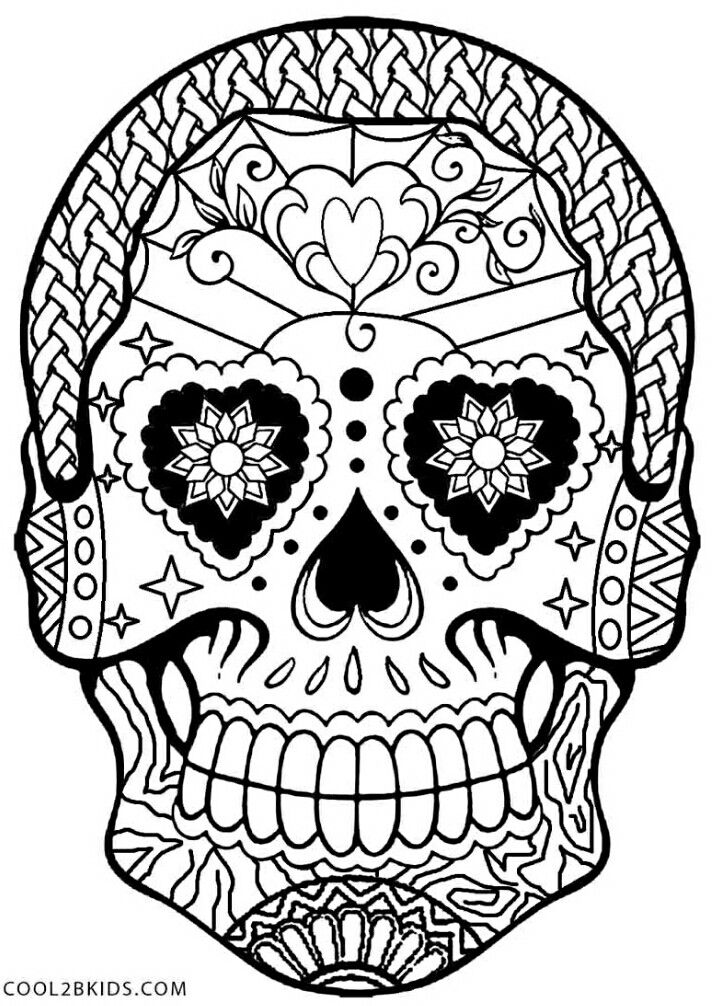 Halloween Sugar Skull Coloring Page Free Printable Calaveras Dia De Los Muertos Day Of The Dea Skull Coloring Pages Halloween Coloring Pages Coloring Pages