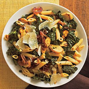 Penne pasta, parsnips, thyme, black kale, parmigiano-reggiano cheese, dry white wine. (45m)