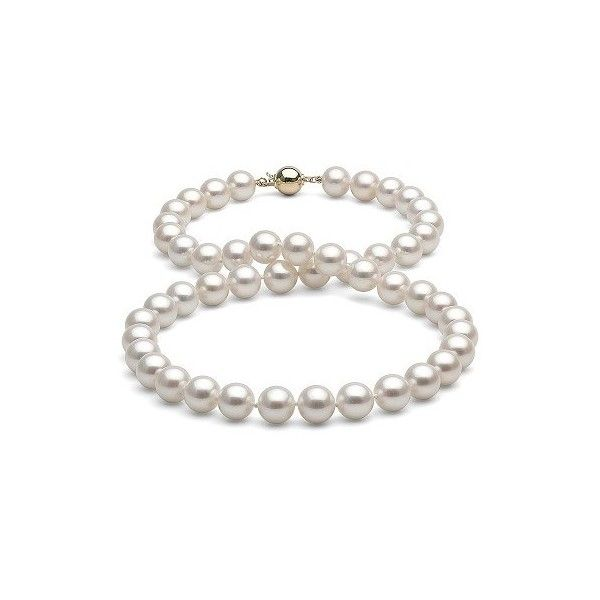 White Gem Grade Freshwater Pearl Necklace 8.0-9.0mm ❤ liked on Polyvore featuring jewelry, necklaces, fresh water pearl jewelry, gemstone jewellery, freshwater pearl necklace, cultured pearl jewelry and fresh water pearl necklace
