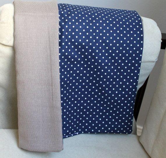 Burp Cloth, Gender Neutral, Navy Blue, Gray, Polka Dot