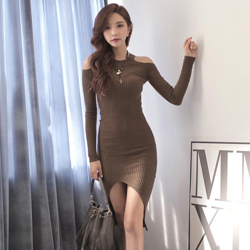 Spring Autumn Women Dress O-Neck Long-sleeved Korean Women Slim Sexy Split  Package