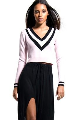 Concrete Runway  Pink Cropped Tennis Sweater