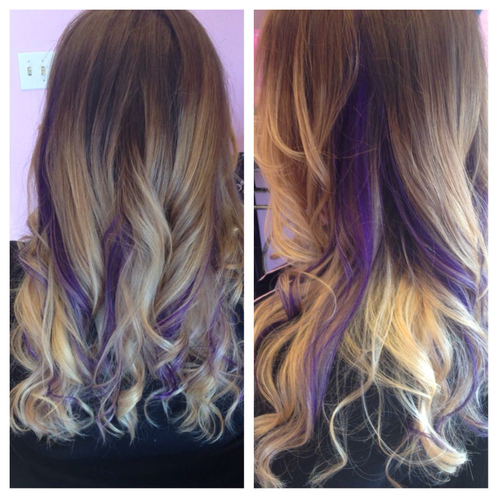 Ombre Blonde Light Brown Purple Peekaboos Long Hair Curls Wavy Curls For Long Hair Long Hair Styles Hair