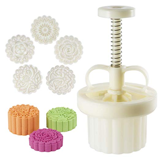 Amazon.com: 100g 5 Stamps Cookie Stamps Moon Cake Mold, Thickness Adjustable Christmas Cookie Press DIY Decoration Hand Press Cutter Cake Mold: Kitchen & Dining #mooncake