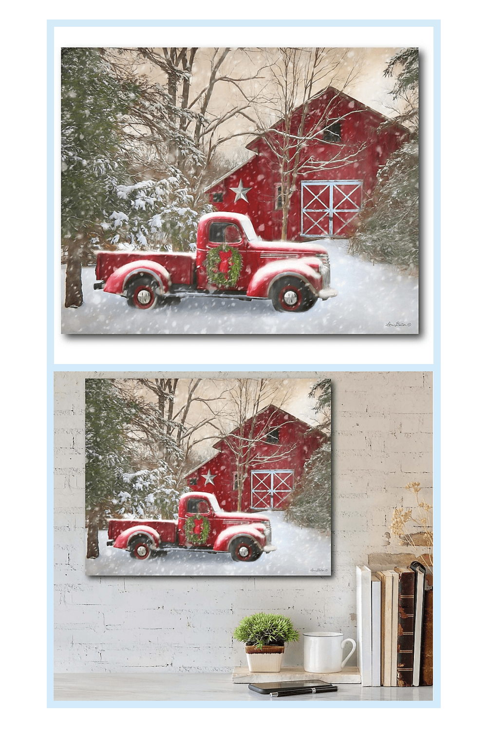 Courtside Market Barn With Truck 16 Inch X 20 Inch Canvas Wall Art Bed Bath Beyond Christmas Art Wall Canvas Farm Scene Painting