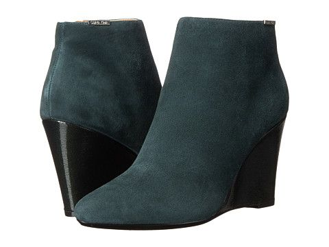 Womens Boots Calvin Klein Charlaine Evergreen Kid Suede/Patent