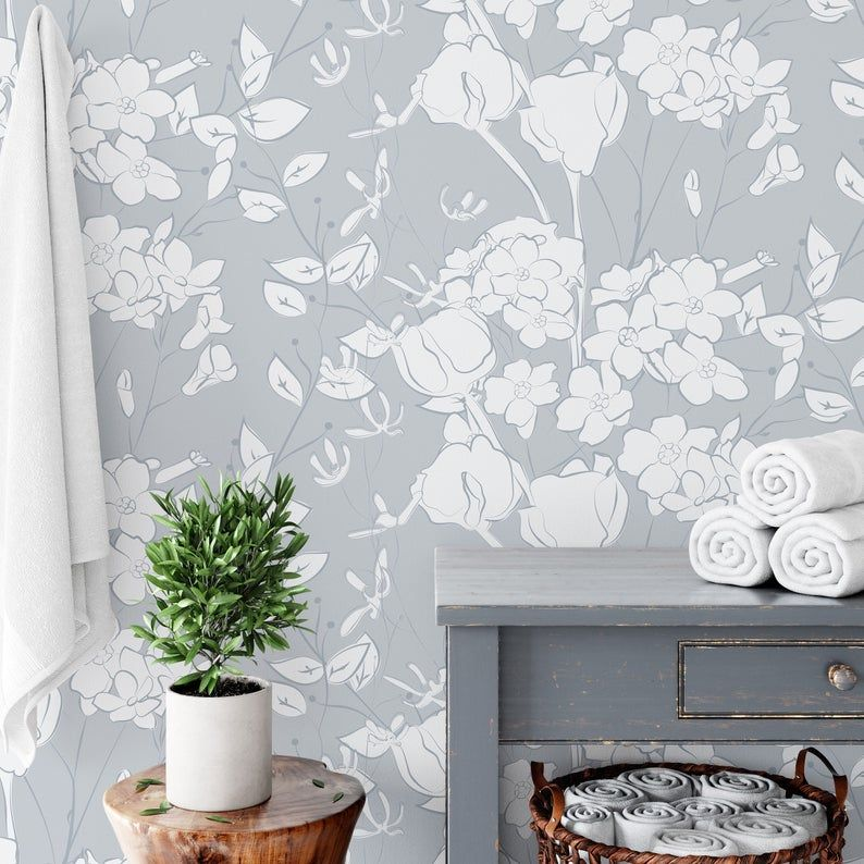 Pale Blue Floral Wallpaper Removable And Self Adhesive Peel Etsy Blue Floral Wallpaper Floral Wallpaper Accent Wall
