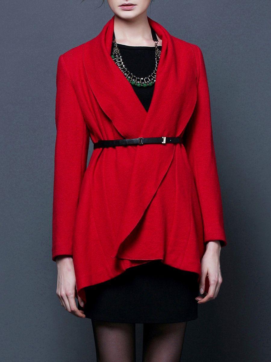 Adorewe stylewe bblluuee red long sleeve aline folds coat