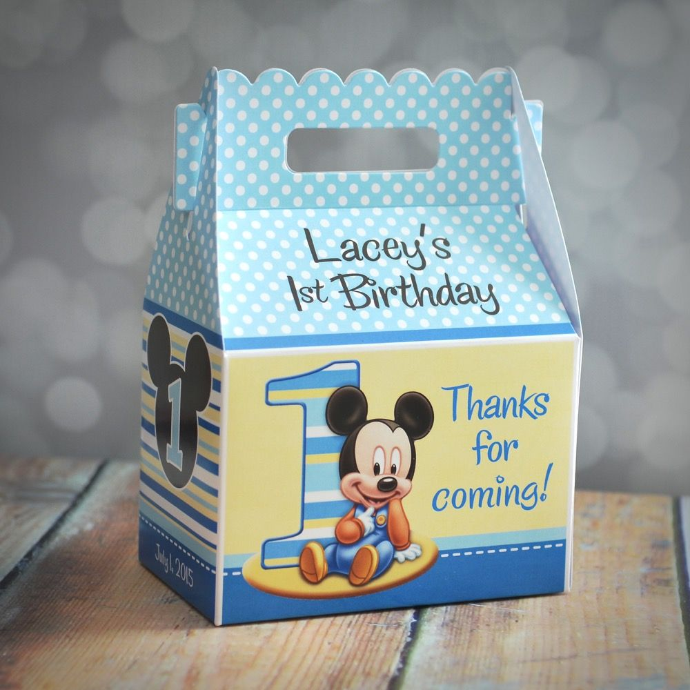 Baby Mickey Mouse First Birthday Party Gable Favor Box Mickey
