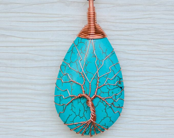 Tree of Life copper wire wrapped Turquoise pendant