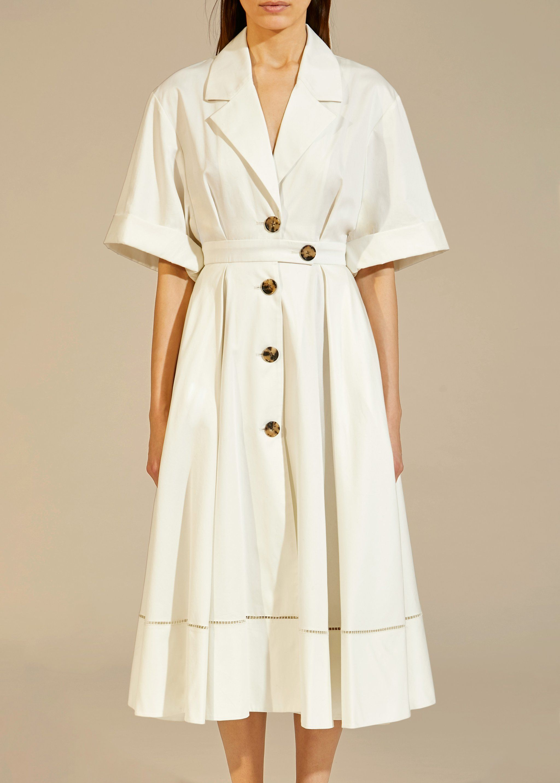 The Chloe Dress In White Khaite Chloe Dress Dresses Shirt Dress [ 2867 x 2048 Pixel ]