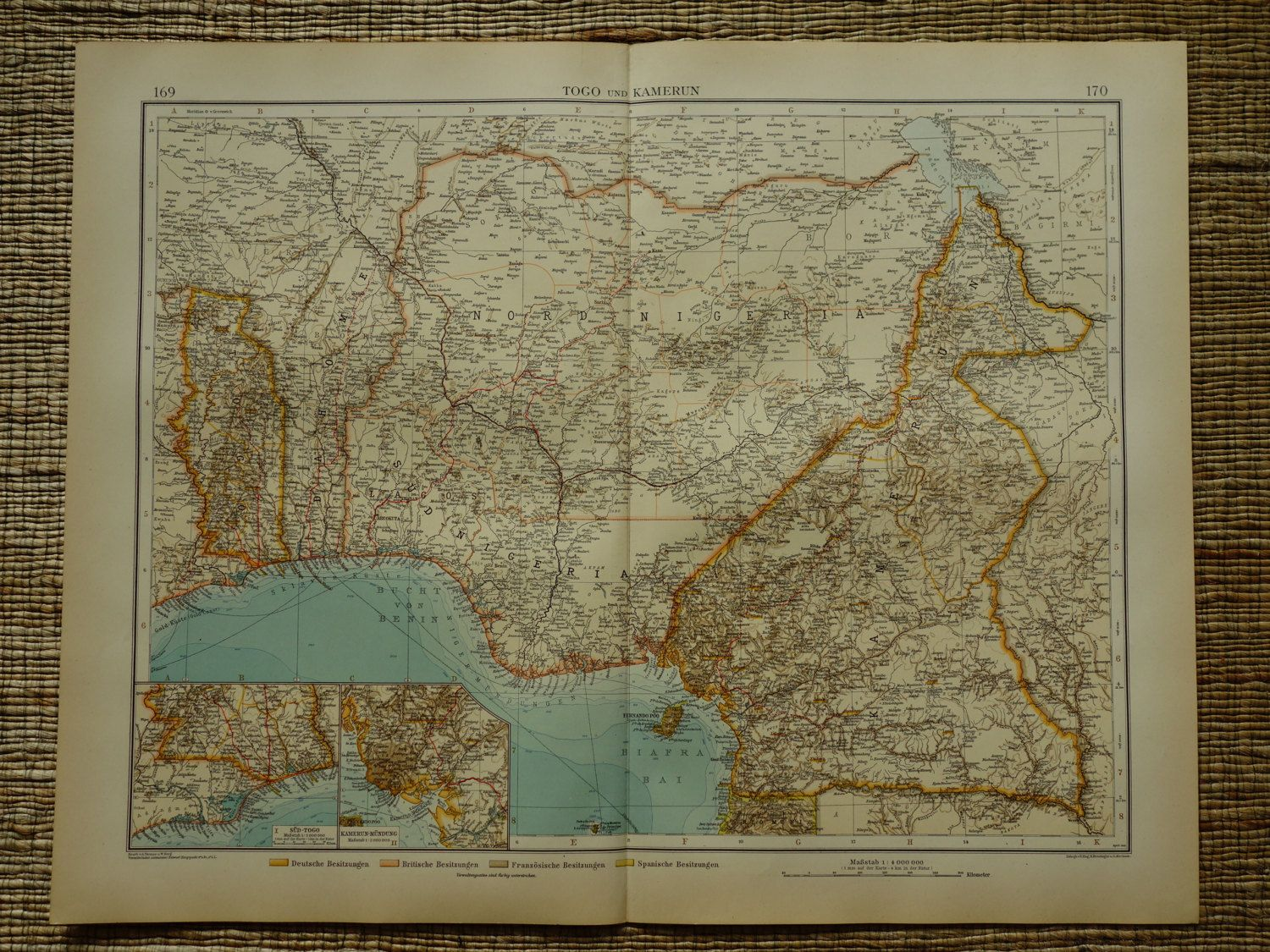 1910 Antique large colonial map of Togo
