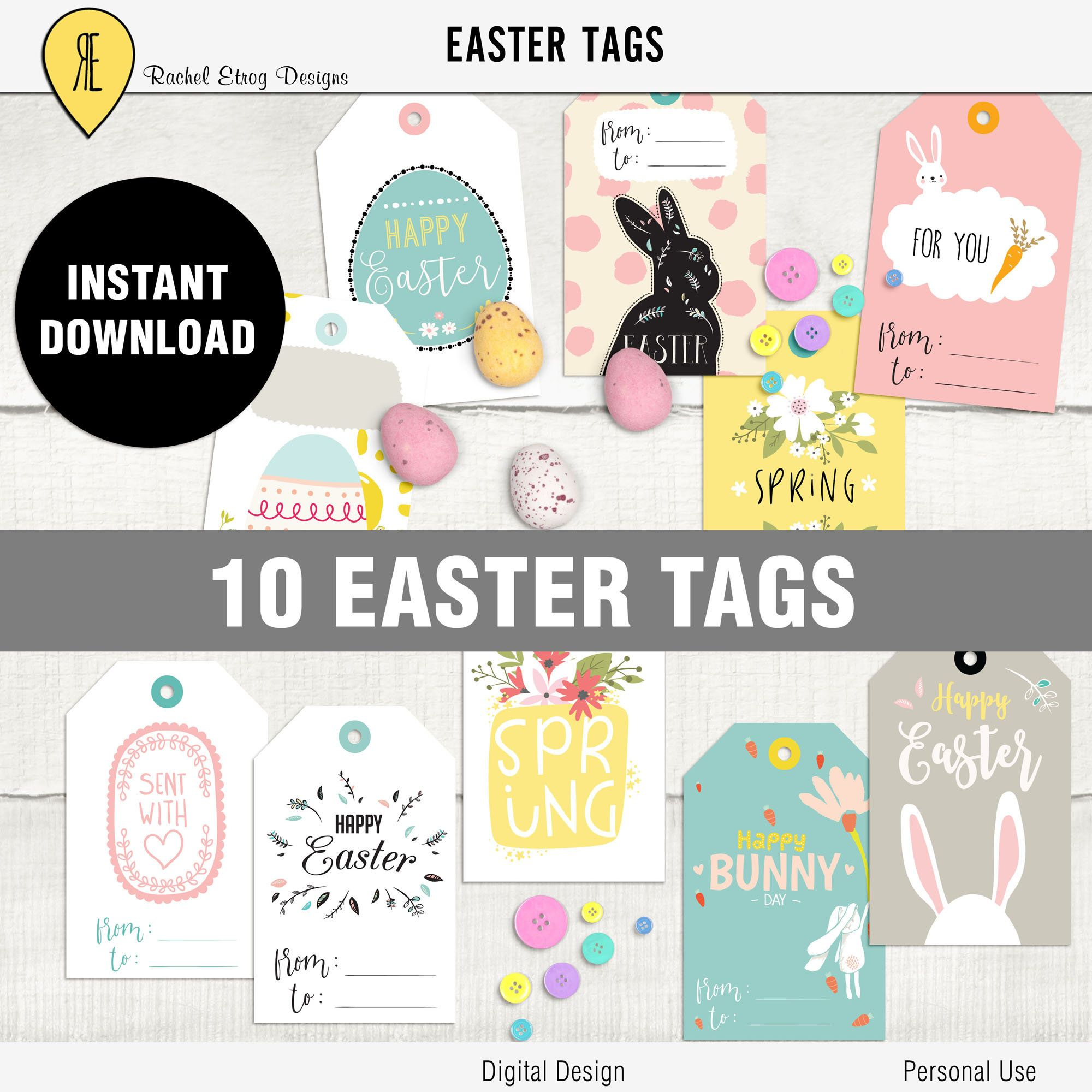 Easter digital gift tags easter printable tag printable easter easter digital gift tags easter printable tag printable easter bunny gift tags easter negle Gallery