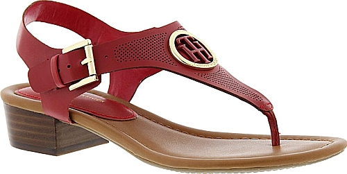 5fbf75138959 Tommy Hilfiger Kandess Women s Red Sandal. On-trend perforations and a  sleek t-strap design make this sandal a stylish win-win.