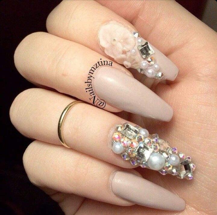 Beige Nude Squoval Acrylic Nails w/ Pearls & Rhinestones ...