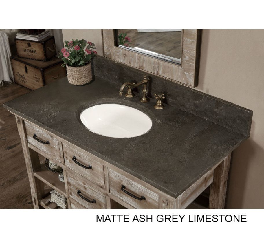 48 inch Rustic Bathroom Vanity Carrera White Marble Top Attic