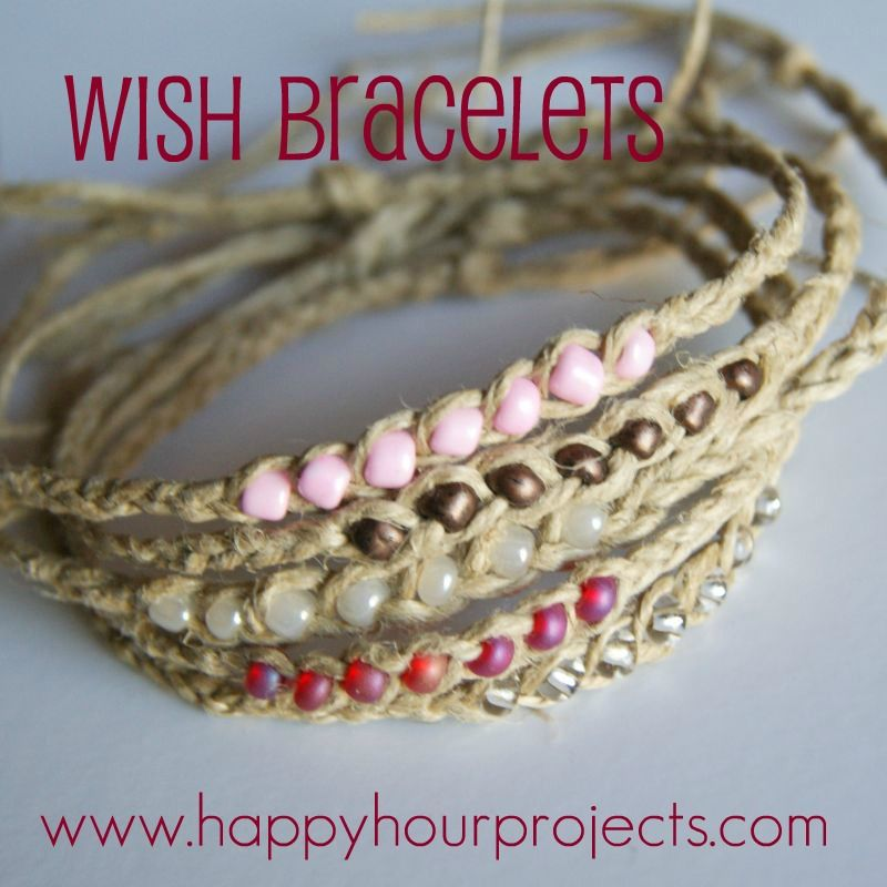 DIY Wish Bracelets. Very easy to make by braiding twine, flexible cord, or even thin shoe laces. Cute summer bracelets!