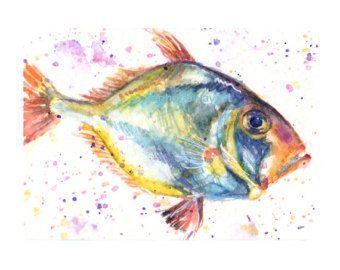 Aquarell Fisch Drucken Bunte Fische Wandkunst Von Snoogsandwilde
