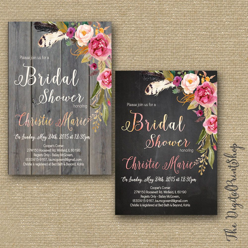 rustic wedding shower invitation coed bridal shower engagement