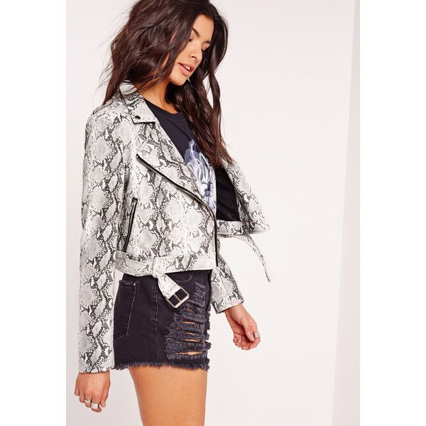 c738753b8ea3 Missguided Faux Leather Snake Skin Biker Jacket ($73) ❤ liked on Polyvore  featuring outerwear, jackets, grey, motorcycle jacket, snakeskin jacket, ...