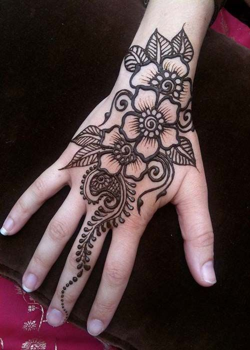 Gambar Mahendi Tangan Simple : gambar, mahendi, tangan, simple, Beautiful, Mehndi, Design, Henna, Tattoo, Designs,, Flower