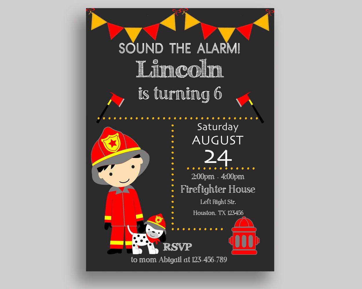 Fireman Birthday Invitation Fireman Birthday Party Invitation