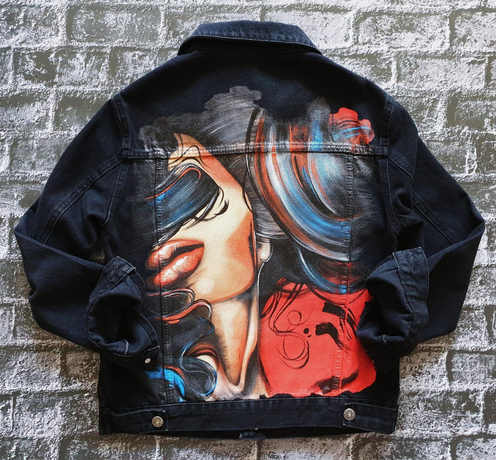 Customized denim jacket Hand painted black jacket women/'s Hand painted denim Jacket painted Custom jacket for woman Denim art Jacket custom