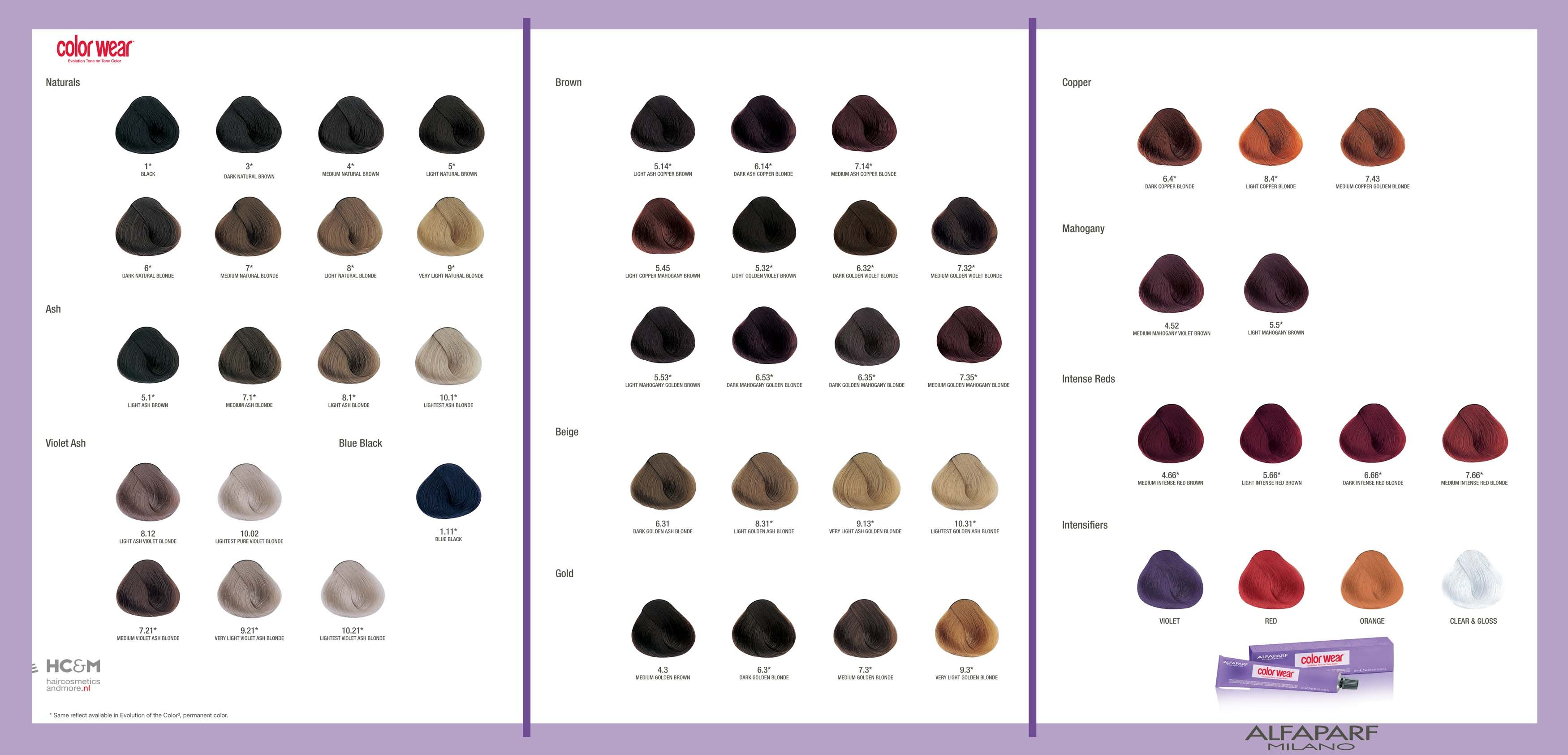 Alfaparf Color Wear Evolution Tone On Tone Color Swatch Chart