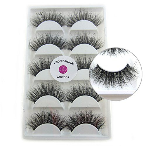 d880f29a567 100% Siberian Mink Fur 3D False Eyelash LASGOOS Degisn Luxurious Natural  Messy Volume Fluffy Long Hot Fake Eyelashes 5 Pairs/Box A11-5.