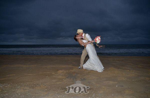 Beach Wedding Kiss At Night On The Ocean City MD