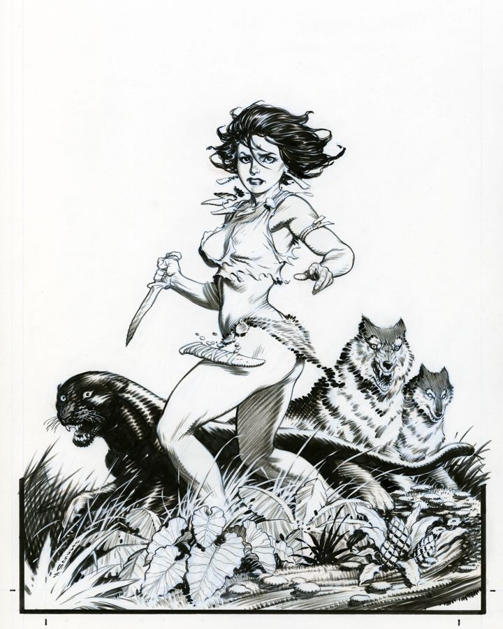 """*Jungle Book* issue 1 lineart by Mark Schultz. [This pose is perilously close to """"brokeback."""" Can even Mr. Schultz fall victim to this trend?]"""