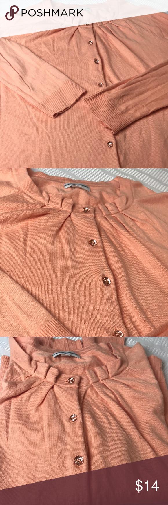 Women's peach color twin set style sweater | Peach colors, Liz ...