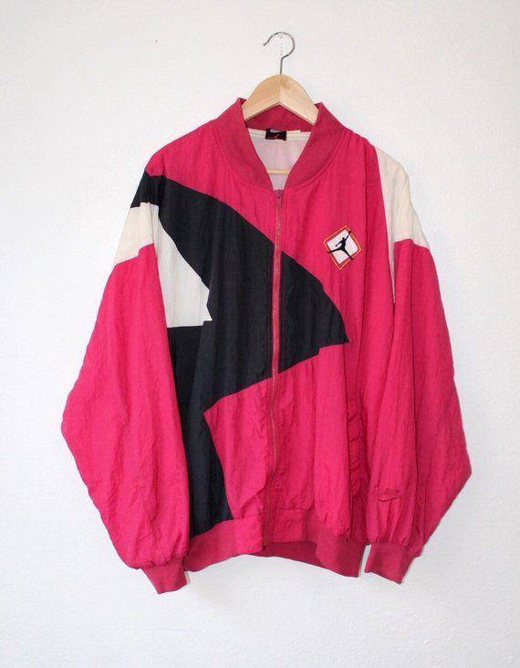 2e65f443a03d Vintage 80s Nike Air Jordan Flight Bomber Windbreaker Jacket Fits Mens XL  Light Fuchsia White Black